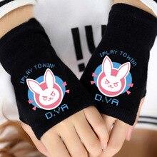 D. Va OW игры перчатки на пол пальца; зимняя обувь для пары; принт с героями мультфильмов, черный Косплэй теплые, без пальцев перчатки для косплея Kagerou подарок Лидер продаж