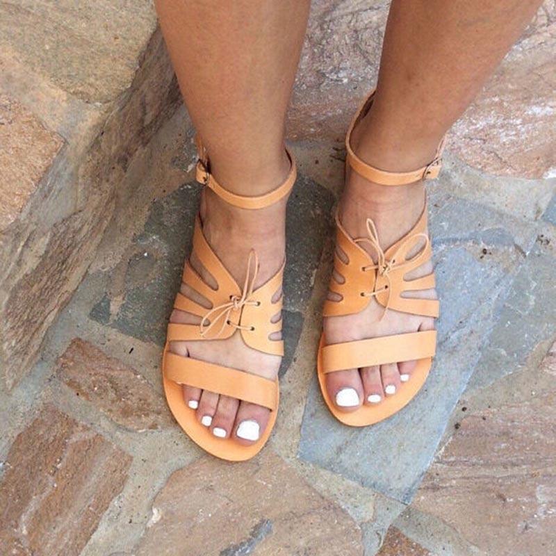 La Chaussures Dame Cuir Noir Plat orange Main Femelle Sandales Noir Up À Dentelle D'été Gladiateur Plage Casual Femmes De Pour En gtgwBxOq
