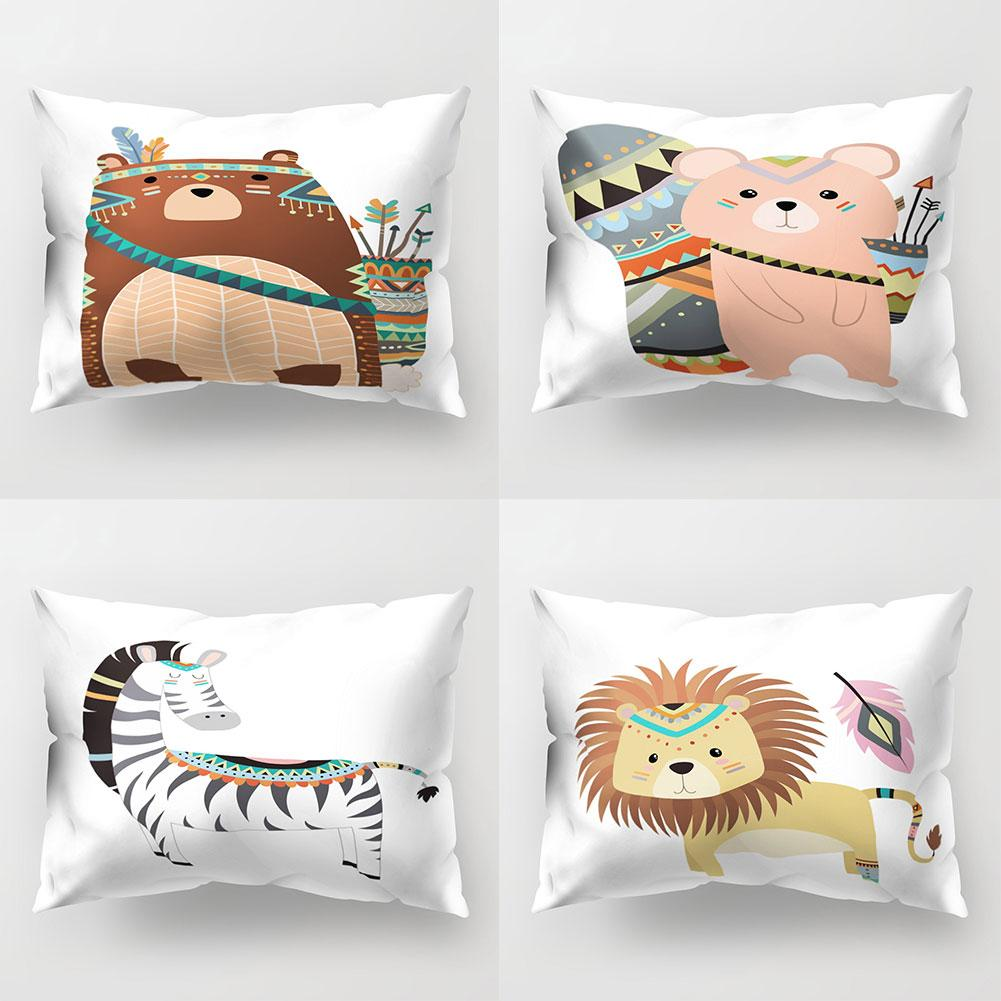 30# Cute Cartoon Owl Bear Square Pattern Throw <font><b>Pillow</b></font> <font><b>Case</b></font> Bedding Articles Home Textile New image