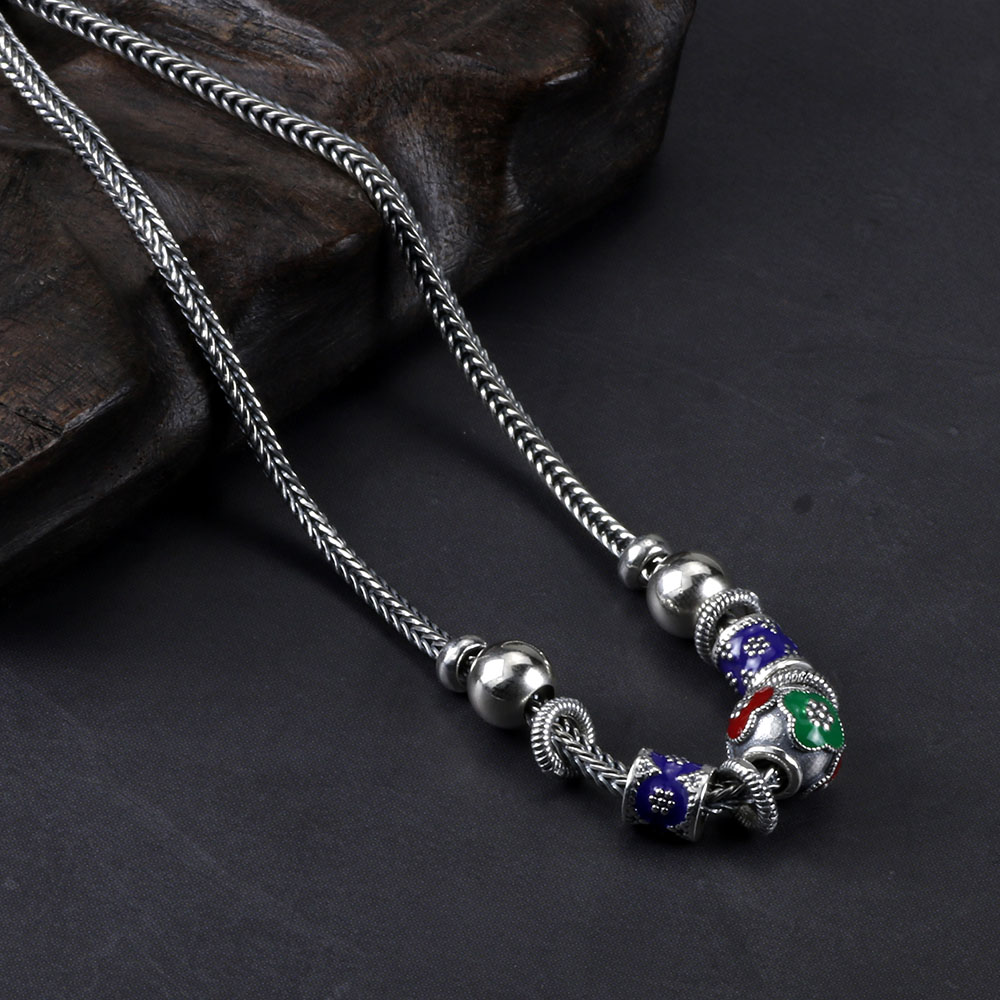 Real Pure 925 Sterling Silver Short Necklace For Women Vintage Enamelling Beads Pendant Braided Chain Beaded