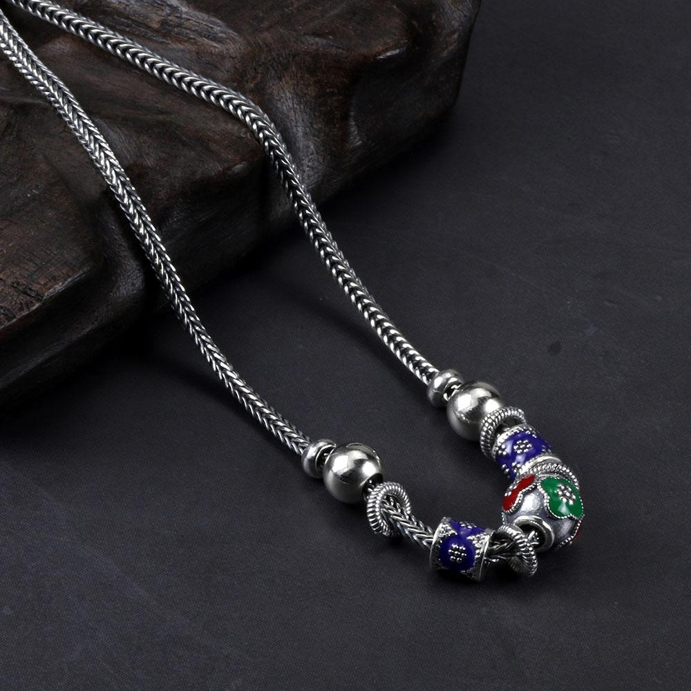 Collier court en argent Sterling 925 pur pour femmes, perles émaillées Vintage, pendentif, chaîne tressée, collier en perles-in Colliers chaîne from Bijoux et Accessoires    1