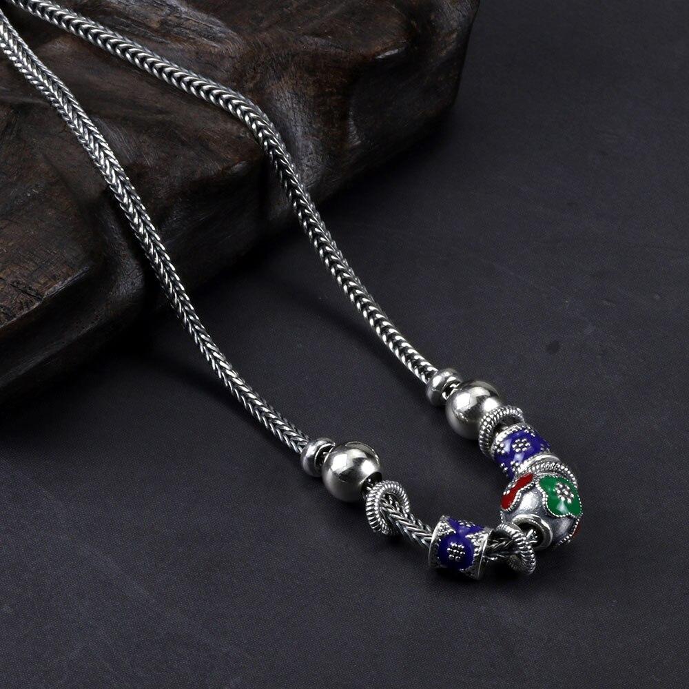 Collier court en argent Sterling 925 pur pour femmes, perles émaillées Vintage, pendentif, chaîne tressée, collier en perles