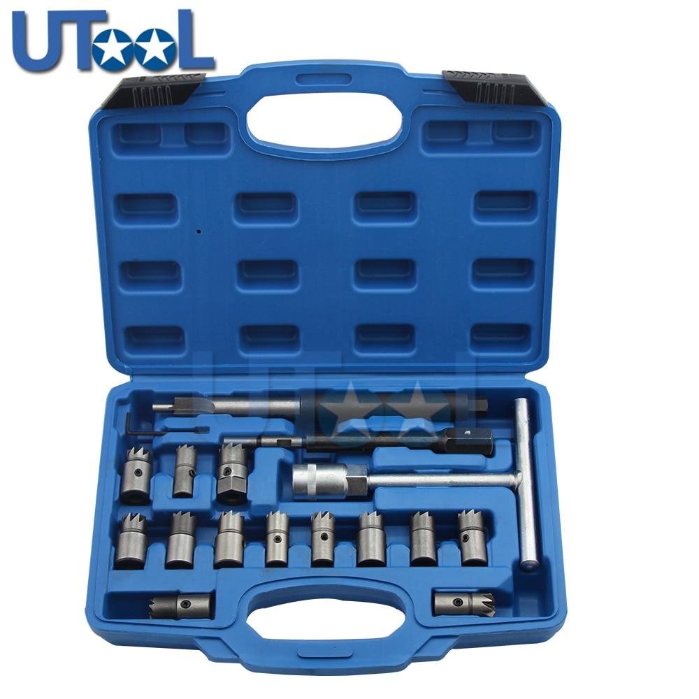 17 Stks/set Diesel Injector Nozzle Seat Cutter Cleaner Tool Set Uk Professionele Carbon Remover Platte Schuine Ruimer T Handvat Set Prijs Blijft Stabiel