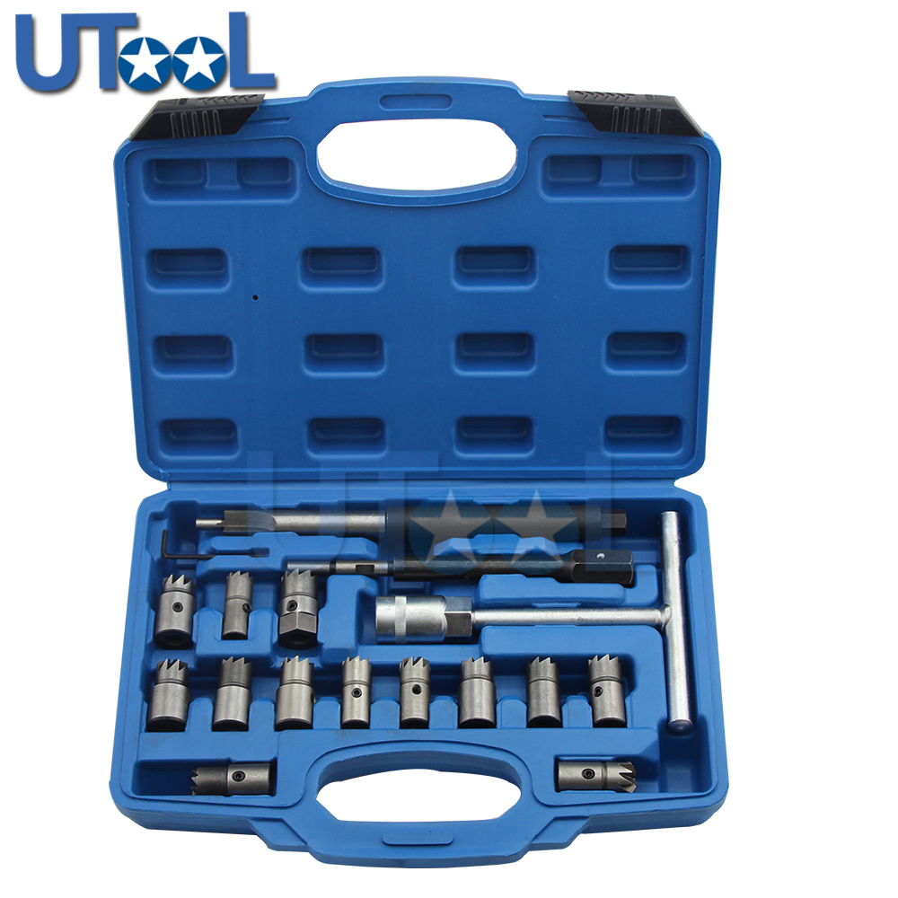 17pcs/set Diesel Injector Nozzle Seat Cutter Cleaner Tool Set UK Professional Carbon Remover Flat Angled Reamer T Handle Set professional common rail injector puller set diesel engine garage tool set t10055 tdi