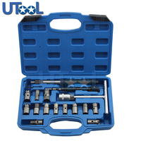 17pcs/set Diesel Injector Nozzle Seat Cutter Cleaner Tool Set UK Professional Carbon Remover Flat Angled Reamer T Handle Set