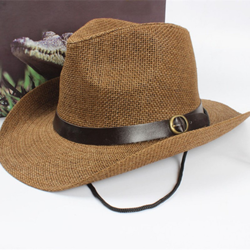 cool CowboH Hat Unisex Women Men sun TrilbH Hat Wide Brim Straw Cap H6