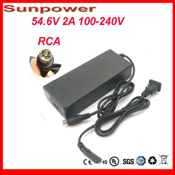 48V 13S Lithium Battery Charger Output 54 6V 2A RCA Plug 48v 2a Li Ion Battery