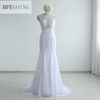 White Chiffon Sleeveless Mermaid Trumpet Formal Evening Dress Floor Length V Back Real Original Photos Custom