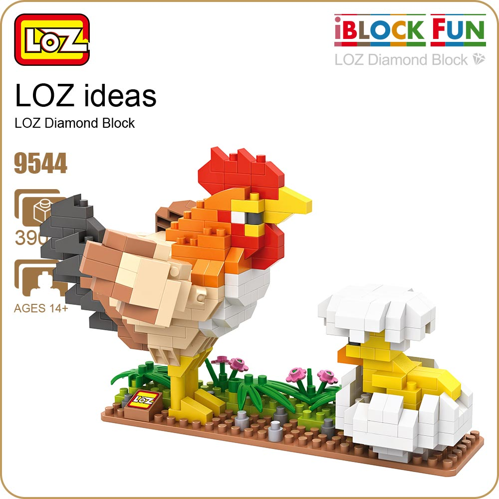 LOZ Diamond Blocks Cock Chick Egg Model Birds Animal Action Figures Plastic Assembly Toys Mirco Brick Nano DIY Educational 9544 loz diamond blocks figuras classic anime figures toys captain football player blocks i block fun toys ideas nano bricks 9548