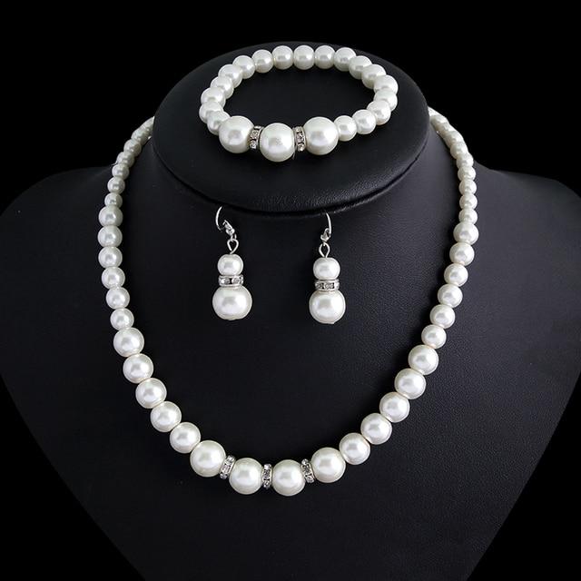 Danbihuabi Wedding Costume Jewelry Sets Imitation pearls Jewelry Adornment Woman Necklace and Earring jewellry set for & Danbihuabi Wedding Costume Jewelry Sets Imitation pearls Jewelry ...