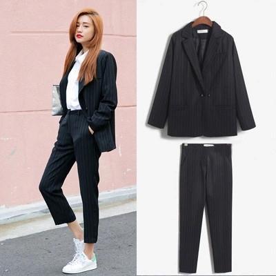 2016 Moda OL Terno das Mulheres Clássico Projeto da Listra Ocasional da Longo-luva Desgaste do Trabalho Blazer E Calças Twinset