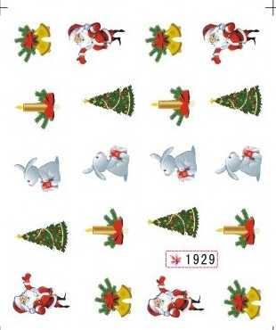 Brokat woda naklejka naklejka paznokci boże narodzenie boże narodzenie drzewa człowiek śniegu święty mikołaj SY1929-1934