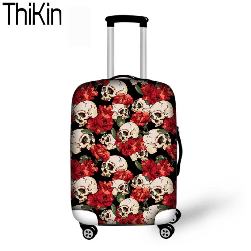 Discreet Thikin Beschermende Bagage Cover 3d Schedel Bagage Cover Voor 18-30 Inch Trolley Koffer Covers Elastische Organizer Travel Cover Nieuwe