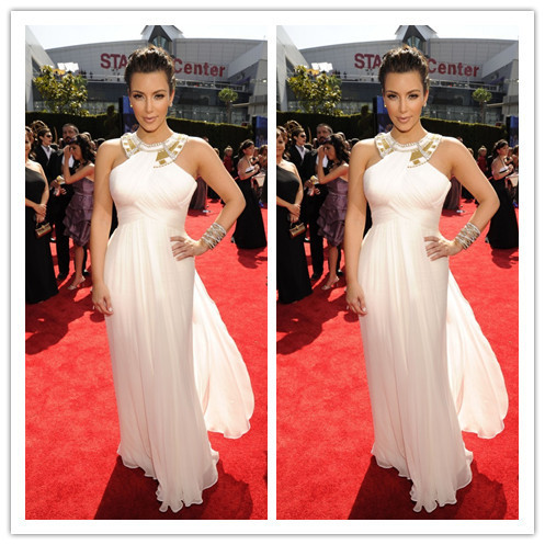 Kim Kardashian 2018 New Fashion Ivory Halter Neckline Chiffon Floor Length Women Feest Jurken Formal   bridesmaid     Dresses