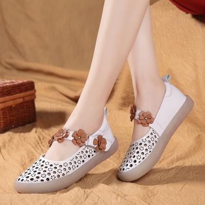 summer single shoes female 2018 White shoe Genuine leather sweet flowers Soft bottom Soft bottom Women