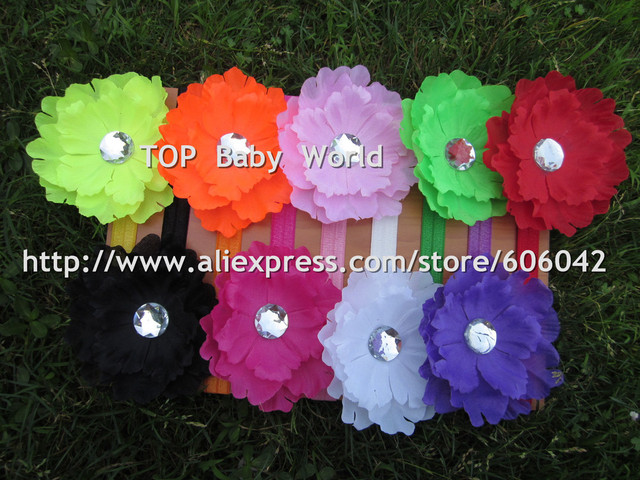 XIMA  Fluorescence Color Peony Flower with 1.5cm  Headbands  Kids Hair Accessories  50pcs/lt Free Shipping