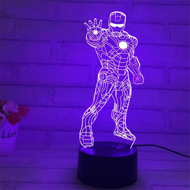 Novelty 3D Desk Lamp Night Lights Star Wars Iron Man Bedside Nightlight Luminaire Lava Lamp 7 Colors Abajur Para For Bady Lamps