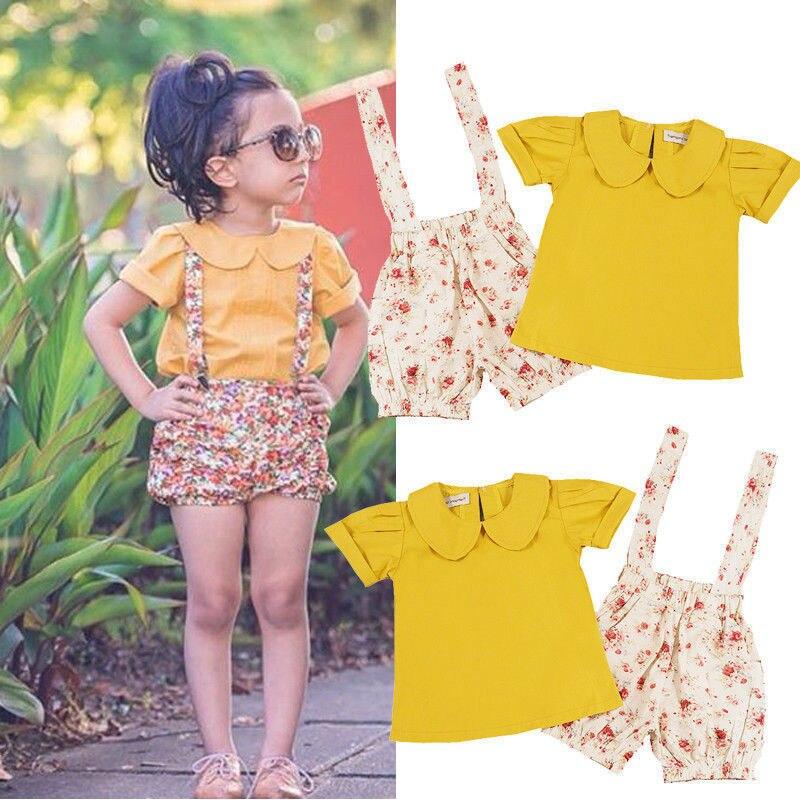 2017 2pcs Bib Pants + T-shirt Tops Girl Clothing Flower Strap Shorts Outfits 2PCS Set Toddler Kids Baby Girls Clothing