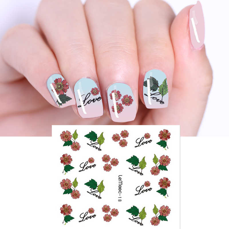 LEMOOC Water Decal 1 Sheet Nail Transfer Sticker Nail Art Decoration for  Watermark Flower Designs