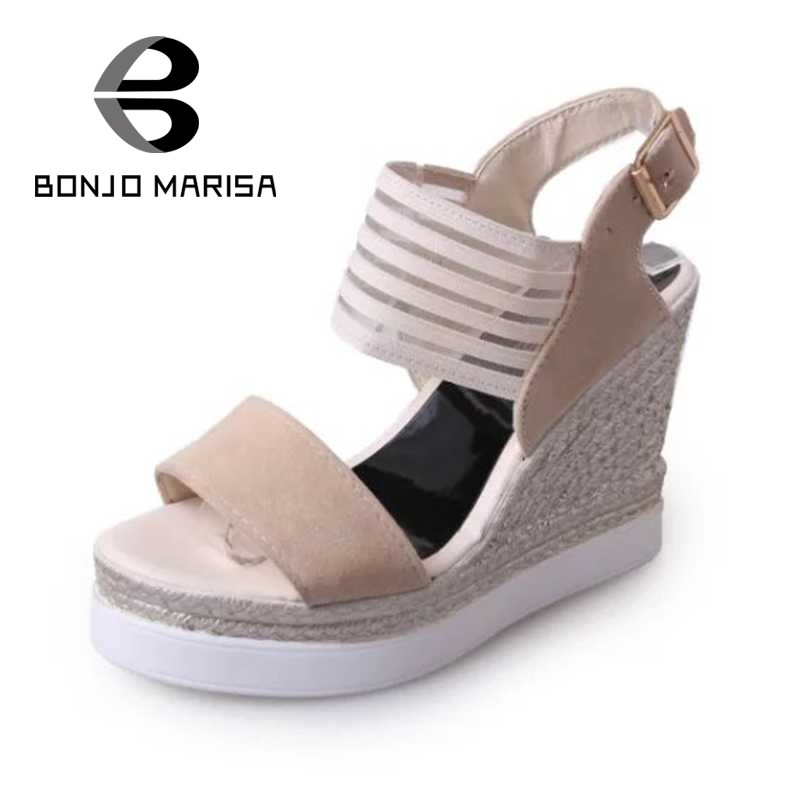 ФОТО Air Mesh Women Sandals Fashion High Heel Wedges Open Toe Platform Shoes For Summer Woman Buckle Strap Footwear