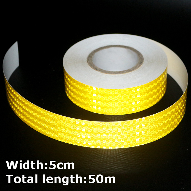 50 м * 5 см высокой интенсивности светоотражатель наклейки для стайлинга автомобилей грузовик мотоцикл украшения желтый безопасности предуп...