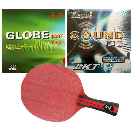 Pro Table Tennis PingPong Combo Racket HRT Red Crystal with LKT Rapid-SOUND and Globe 999 Long Shakehand FL pro combo table tennis racket hrt black crystal with yasaka era 40mm no ittf and ktl pro xp red dragon long shakehand fl