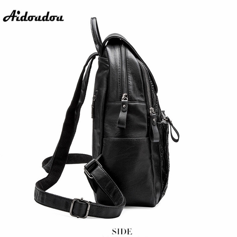 AIDOUDOU Brand Soft Split Leather Backpack For College Girls School Bags  Fashion Plaid Women Backpacks Shoulder Bag Black-in Backpacks from Luggage    Bags ... f0ec8c40cbb52