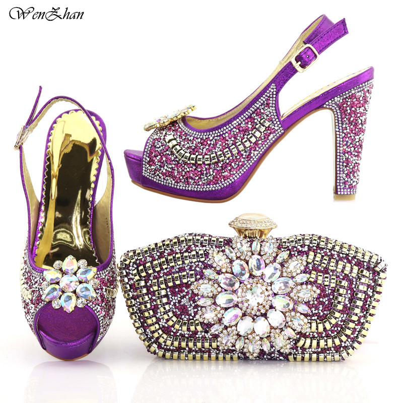 High Grade Ladies Italian Shoes and Bag Set Decorated with Crystal Purple Color Nigerian Wedding Shoes and Bag Set C89-25High Grade Ladies Italian Shoes and Bag Set Decorated with Crystal Purple Color Nigerian Wedding Shoes and Bag Set C89-25