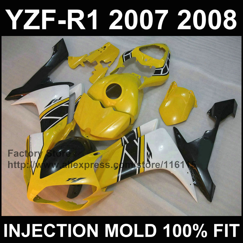 7gifts custom motorcycle injection fairings kit for YAMAHA YZFR1 2007 2008 YZF R1 07 08 YZF1000 yellow white fairing body kits for yamaha yzf 1000 r1 2007 2008 yzf1000r inject abs plastic motorcycle fairing kit yzfr1 07 08 yzf1000r1 yzf 1000r cb02