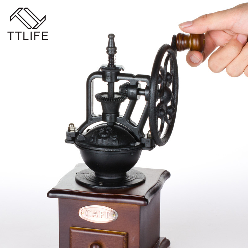 TTLIFE Classic Manual Coffee Grinder With Ceramic Movement Retro Wooden Coffee Mill Coffee Bean Grinder