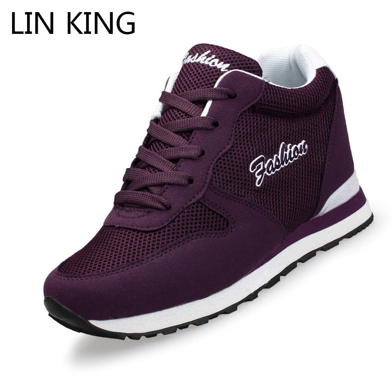 LIN KING Casual Womens Height Increase Shoes Spring Autumn Breathable Wedges Light Platform Shoes Zapatillas Deportivas Mujeres