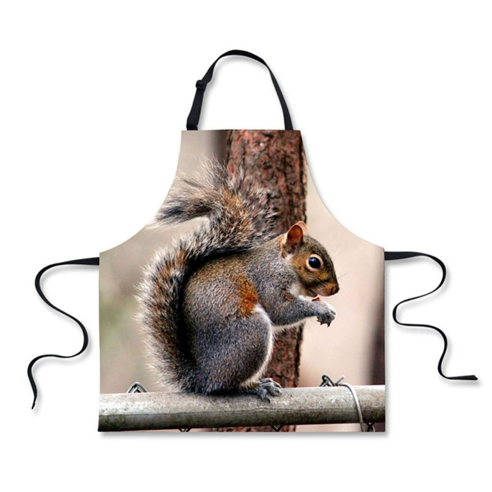 Bag Parts & Accessories High Quality Cute Animal Squirrels Pattern Printing Home Leisure Fashion Kitchen Aprons