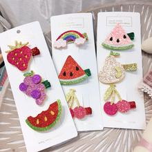 3pcs Cute Cartoon Fruit Hair Clips For Baby Girls Rainbow Cherry Hairpins Barrettes Birthday Party Children Accessories