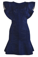 odyconผ้าพันแผลdress เซ็กซี่ของผู้หญิงผีเสื้อแขนjacquardสีฟ้าb 2017สุภาพสตรีออกแบบพรรคdress