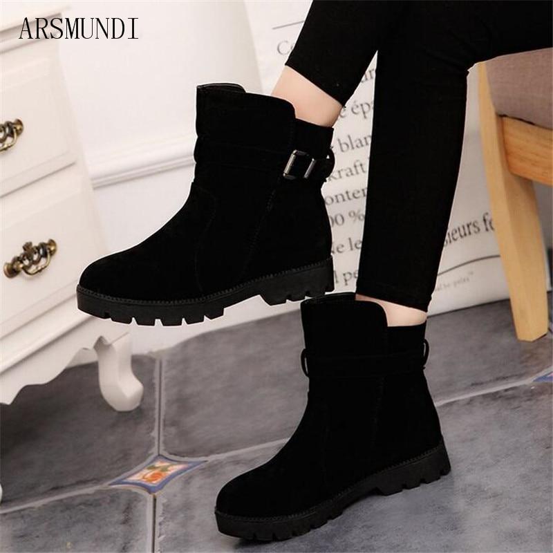 da21f4f390e4 Arsmundi Neige Match Qualité Femmes marron Haute Chaude Noir Cheville  D hiver Martin Solide vert Chaud Filles Boucle Vente Bottes gris Chaussures  ...