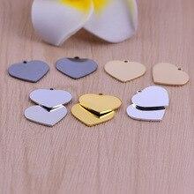 50 adet 20*16.5mm bakır malzeme gümüş renk basit kalp boş damga takılar kolye kolye DIY için takı yapımı