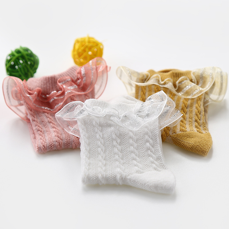 5pair/lot Anyongzu Girls Children Lace Socks Spring And Autumn Babies Colorful Pure Cotton 5--7 Years Old