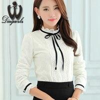 Korean Elegant Female Lace Tops Fashion Women Clothing Long Sleeved Lace Shirt Ruffles Casual Lady Lace