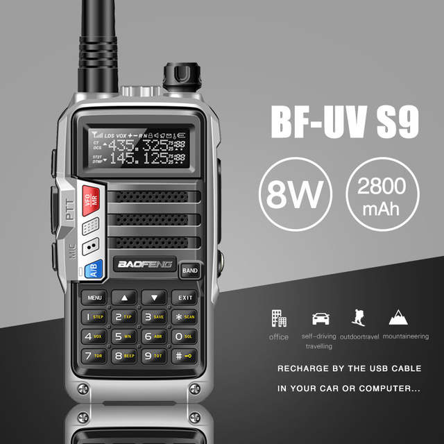 US $29 73 29% OFF|2019 BaoFeng UV S9 Powerful Walkie Talkie CB Radio  Transceiver 8W 10km Long Range Portable Radio for hunt forest city upgrade  5r-in