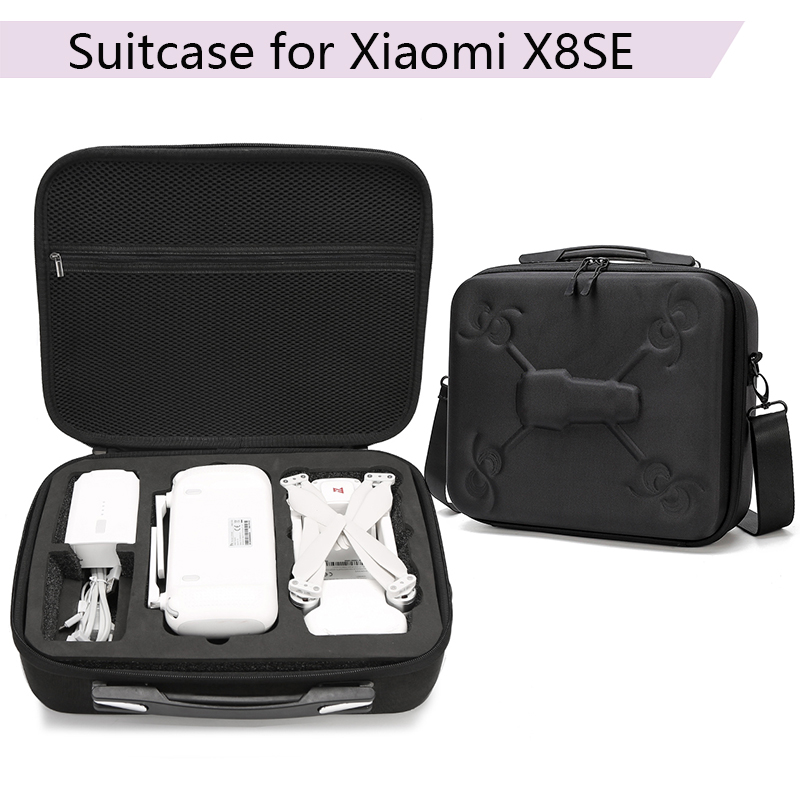 Portable Waterproof Storage Bag Box Carrying Case Suitcase with Zipper for Xiaomi X8SE Device Drone Accessories Black Suitcase