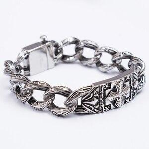 Image 5 - TrustyLan Retro Chain Link Bracelet Men 17MM Wide Heavy Cross Stainless Steel Mens Bracelets Cool Punk Male Jewelry Wristband