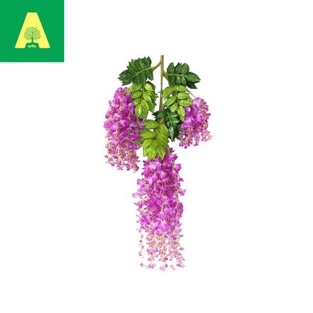 Arflo 5 Colores Falsos Wisteria Vid de La Flor Artificial Con Hojas ...