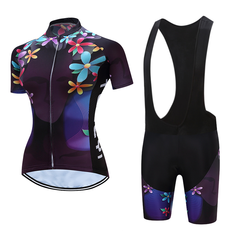 Summer Short Sleeve Cycling Jersey Gel Pad Bib Shorts Sets Female Bicycle Clothing Women Racing Bike Clothes Kits Cycle Maillot