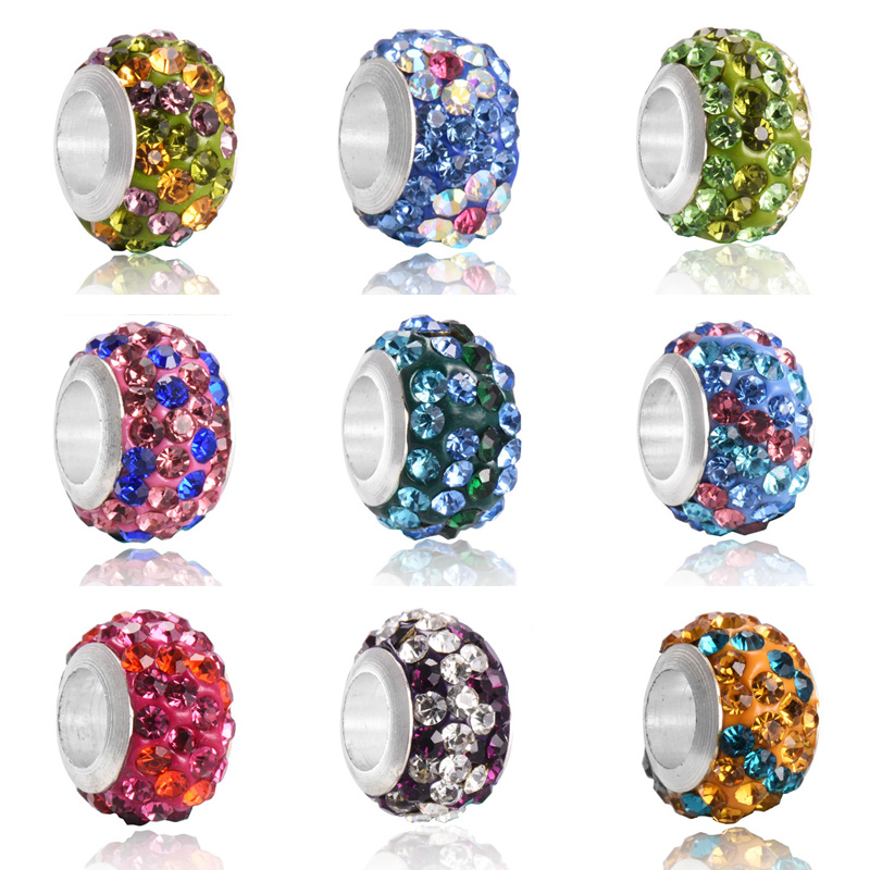 2PCS/Lot 12*7mm Colorful DIY Round Silver Plated Rhinestone Beads Charms fit for Women Fashion Pandora Bracelet Jewelry Findings