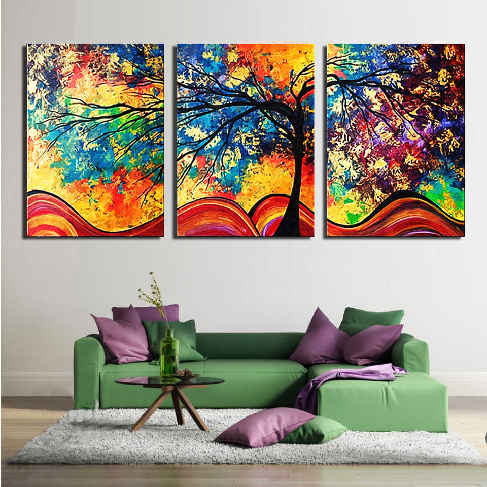 Canvas Paintings Home Decor Wall Art Framework 3 Pieces Abstract Tree Posters Living Room HD Prints Colorful Landscape Pictures
