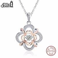 Effie Queen 100 925 Sterling Silver Material Women Necklace Jewelry Flicker Cubic Zircon Pendants Necklaces BN14