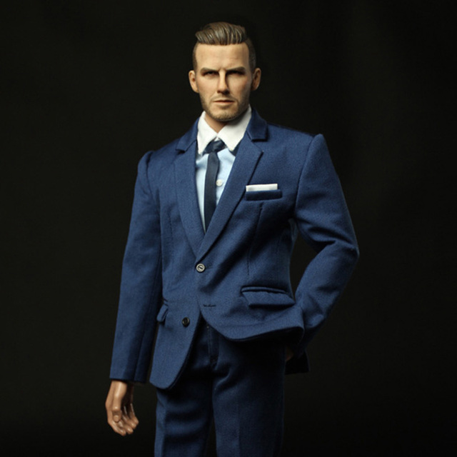 Top On Sale 1/6 Scale David Beckham Head Sculpt & Blue Suit & Leather  OT96