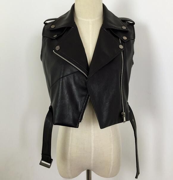 Women PU Leather Vest Ladies tatical Leather Motorcycle Vest waistcoat Rivet colete female WaistCoat Biker T189