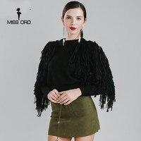 Missord 2016 Sexy O Neck Long Sleeve Tassel Sweater FT4178