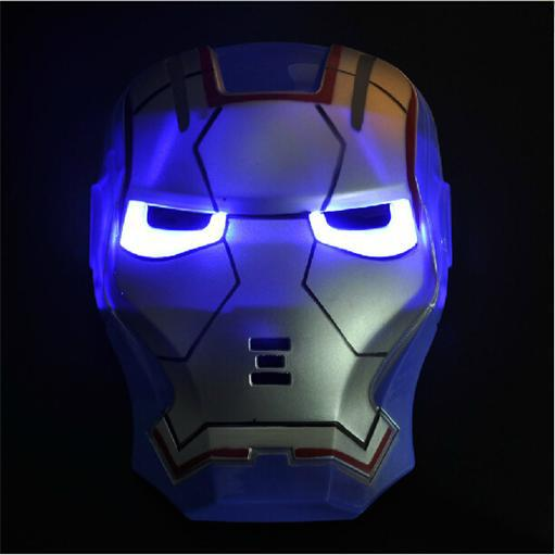 New design Kids Novelty Cartoon Toys Blue Iron Man Led Mask with Music Flashing Toy COS Play Party Goods Halloween Gifts